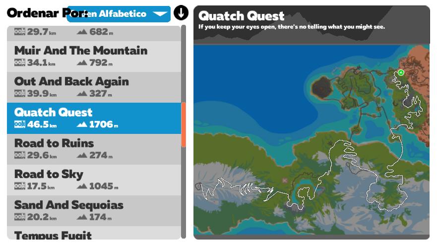 Ruta Zwift Quatch Quest