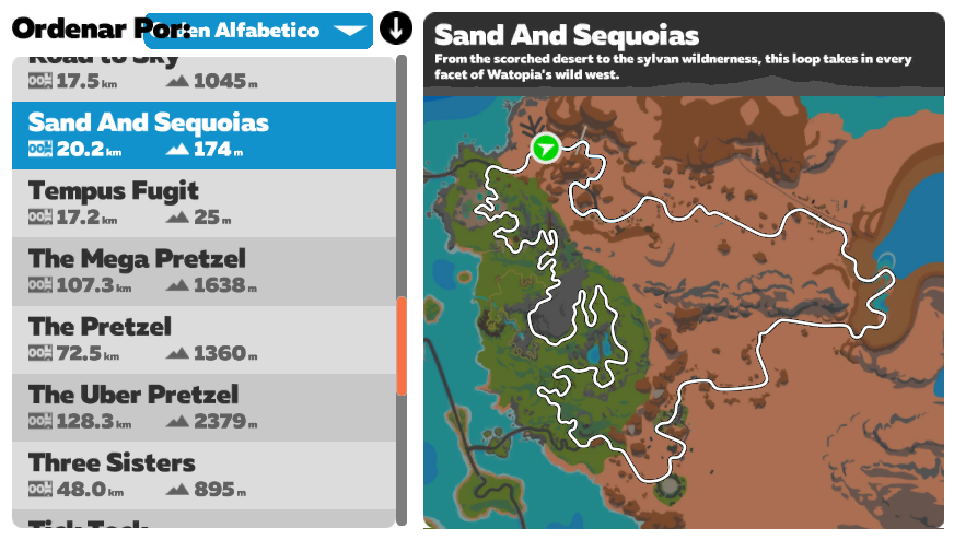 ruta zwift sand and sequoias