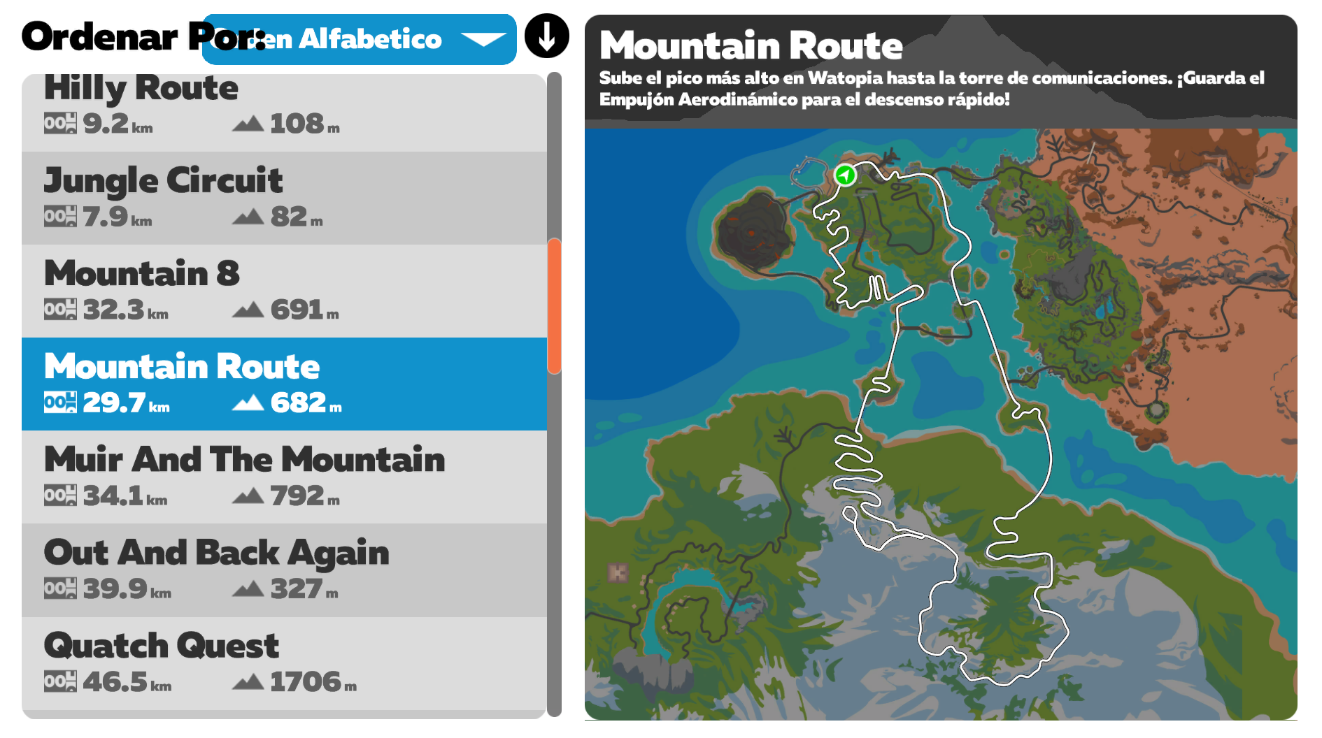 Ruta Zwift Mountain Route