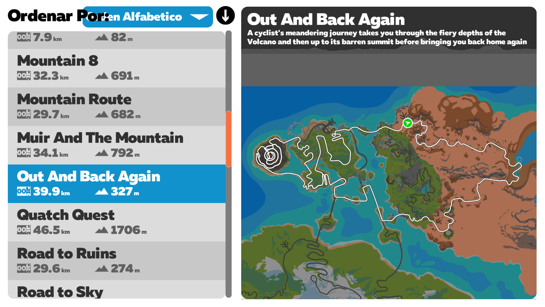 Ruta Zwift out and back again