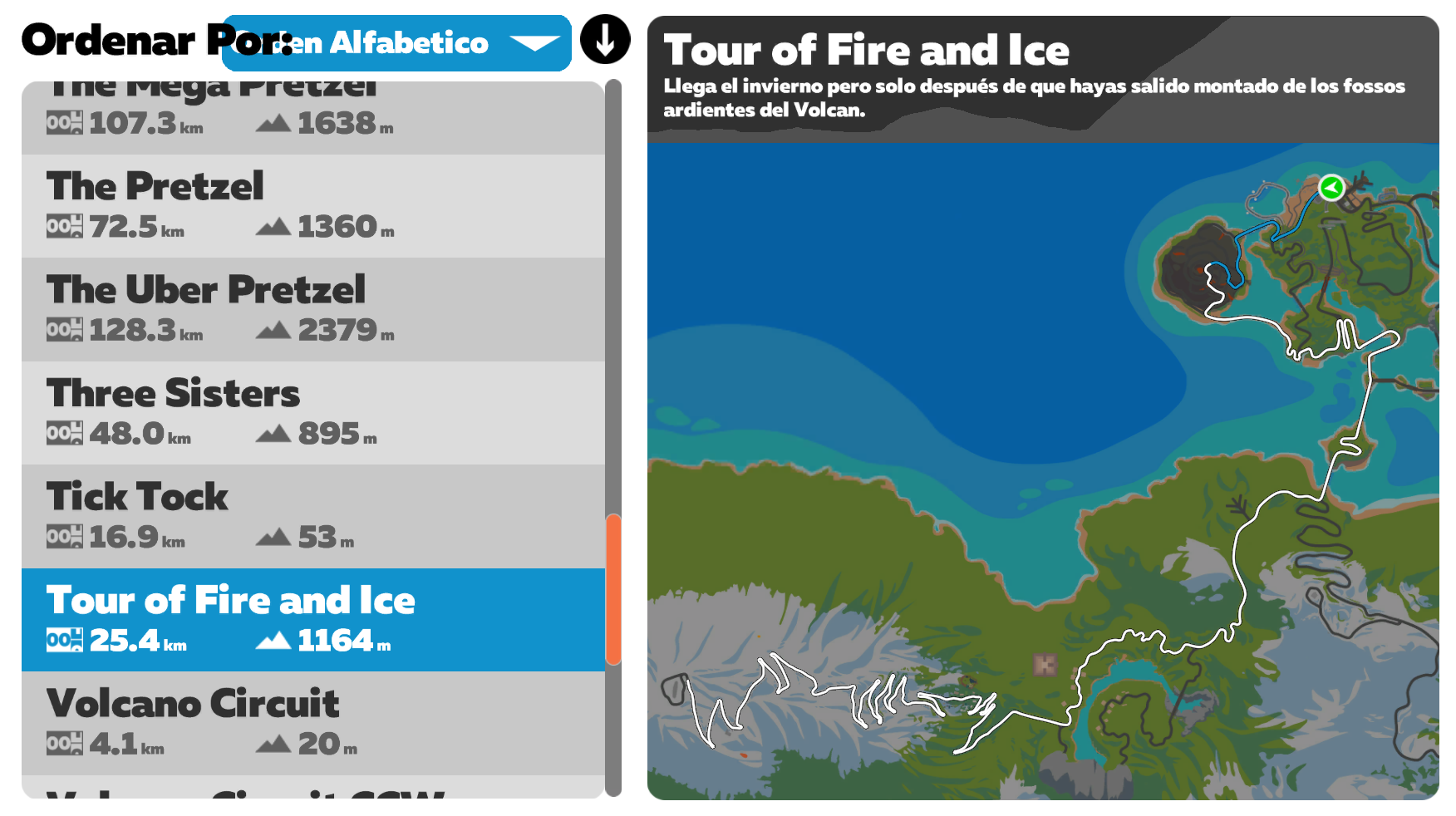 Ruta Zwift Tour of Fire and Ice
