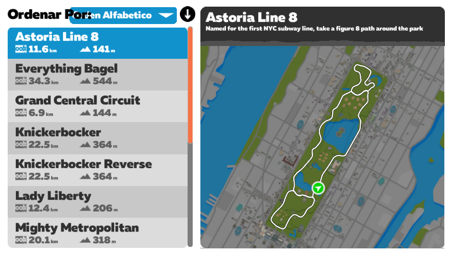 ruta zwift Astoria line 8