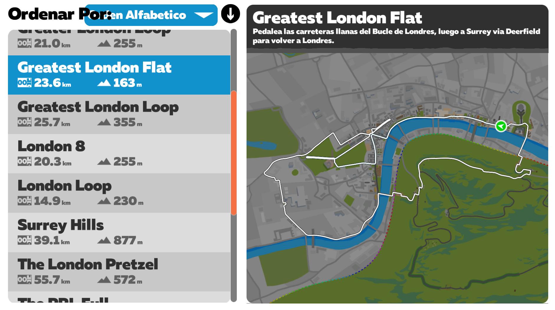 Rutas Zwift Greatest London Flat