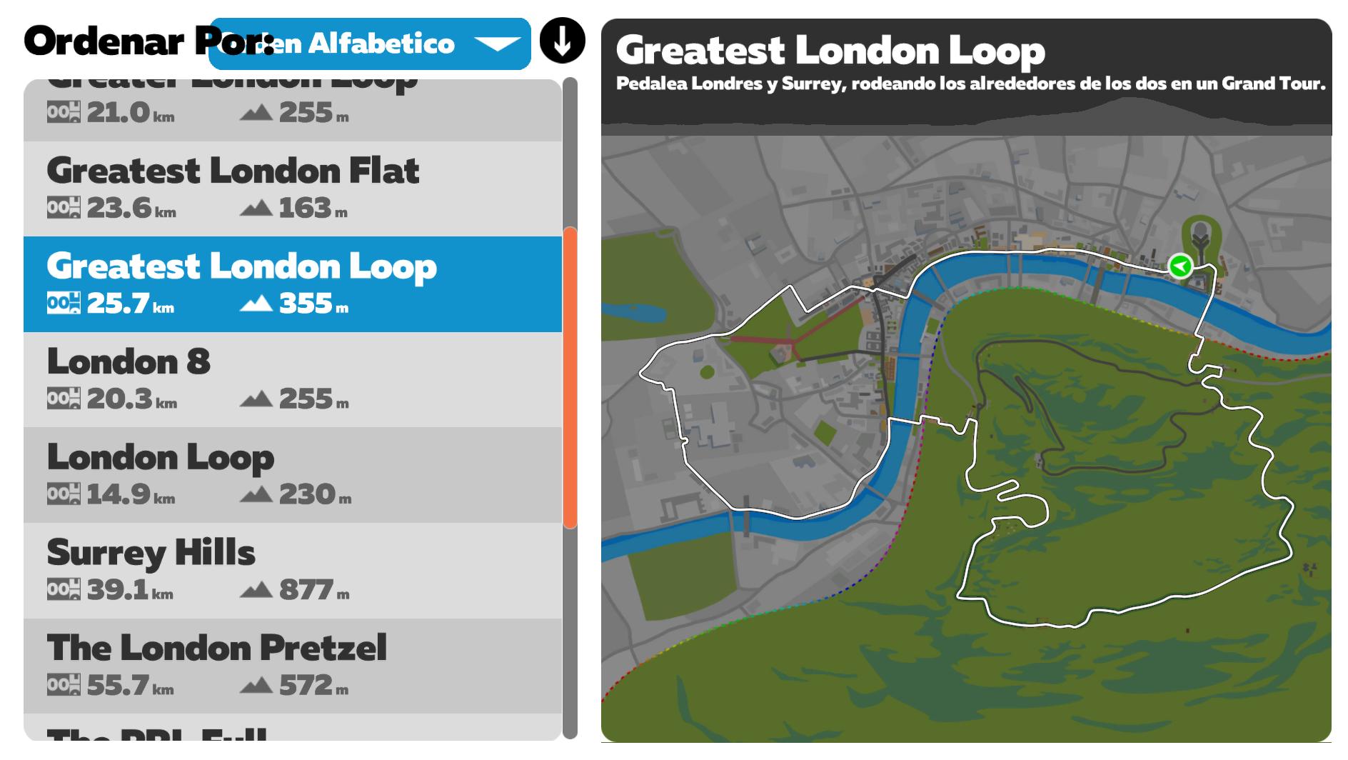 Rutas Zwift Greatest London Loop