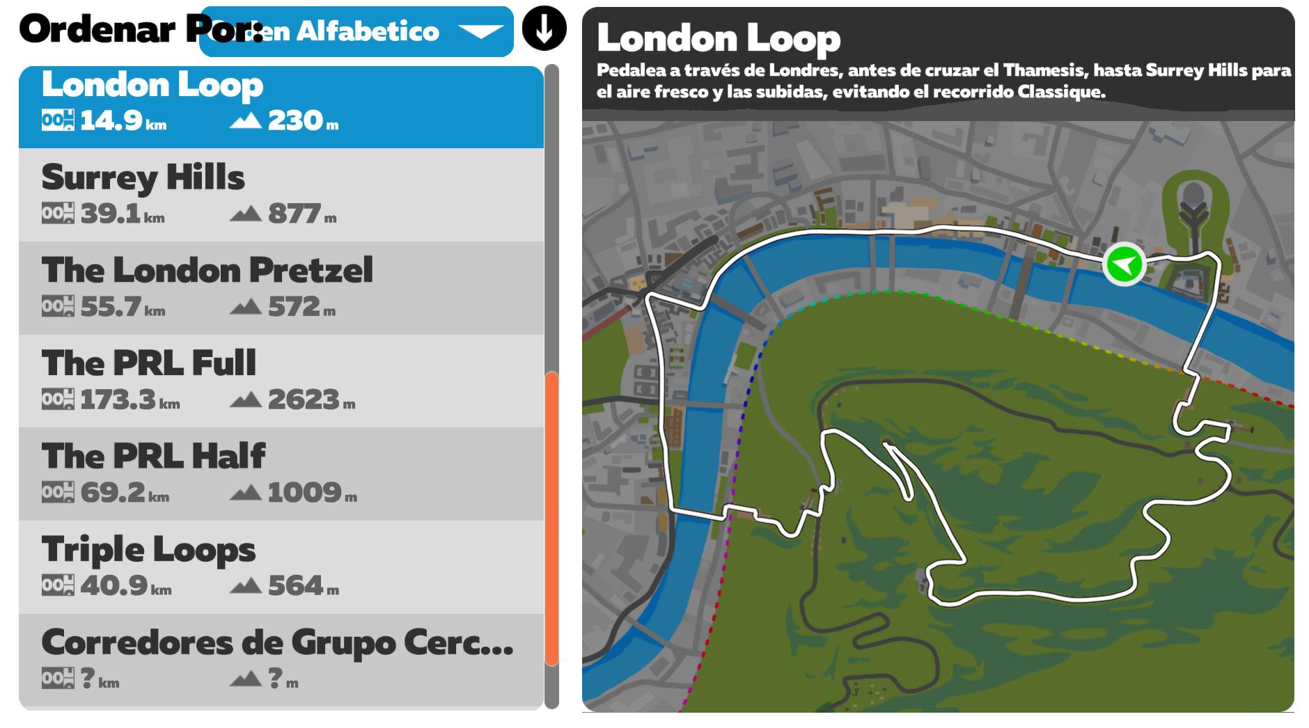 Rutas Zwift London Loop